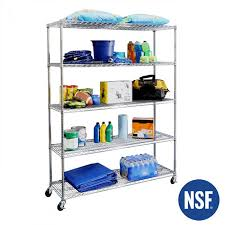 60 ultradurable commercial grade 5 tier nsf steel wire shelving with wheels seville classics