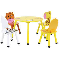 Childrens Wooden Safari Table And Chairs Set Buydirect4u