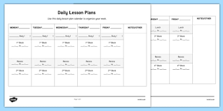 daily page calendar daily lesson plans week to a page calendar