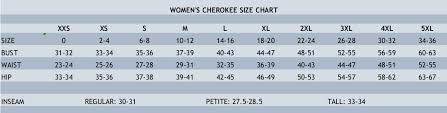 Cherokee Scrubs Size Chart Www Bedowntowndaytona Com