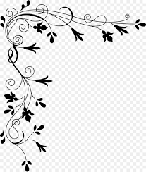 flower black and white clip art corner border png