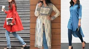 Kurta Designs To Wear With Jeans Latest Kurti Kurta Designs To Wear With Jeans 2018 Kurti