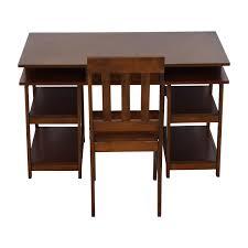 wood desks home office. Single Drawer Wood Desk With Shelves \u0026 Chair Used Desks Home Office
