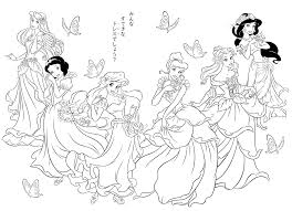 Free Coloring Page Coloring All Princesses