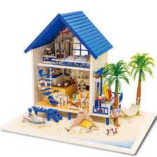 home decoration crafts diy doll house wooden doll houses miniature diy dollhouse furniture kit villa led cheap doll houses with furniture