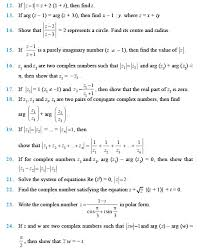 class 11 important questions for maths complex numbers and quadratic equations