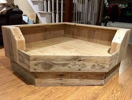 furniture dog bed. handcrafted corner dog bed upcycled wood by pallets4paws furniture