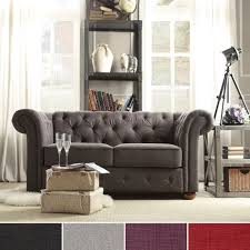 TRIBECCA HOME Knightsbridge Dark Grey Linen Tufted Scroll Arm Chesterfield  Loveseat - Overstock Shopping - Great Deals on Tribecca Home Sofas &  Loveseats