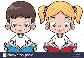 vector ilration of cartoon boy and reading a book stock vector