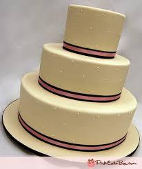 3 Tier Pink Ribbon Swiss Dot Wedding Cake