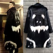 2016 new men s winter faux fur jacket black gown white devil style long section windbreaker fox thick warm fashion fur coat