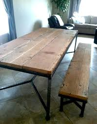 reclaimed wood and metal furniture. simple welded steel table base and legs with reclaimed wood top metal furniture