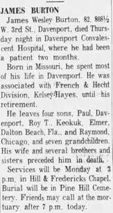 Obituary for James Wesley BURTON (Aged 82) - Newspapers.com