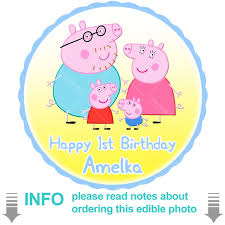 Peppa Pig And Family Circle Cake Topper K103c