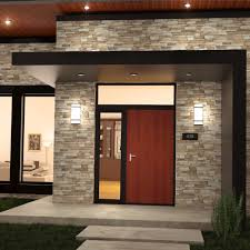 modern commercial outdoor wall lighting with white shade beside modern wooden door