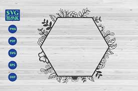 Ie8 may give some issues, but modern. Hexagonal Frame Svg Hexagonal Frame With Flower Svg 313731 Svgs Design Bundles Flower Svg Design Bundles Svg