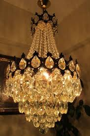 antique vnt french basket style crystal chandelier lamp light 1940 s 15 in