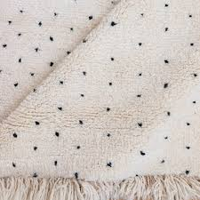 handmade beni ourain rugs with black dots wool rug available at baba souk