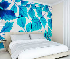 little blue leaf bedroom wallpaper mural photo wallpapers demural