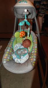 Baby Brother Loves His Bright Starts Baby Swing!