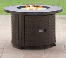 round wicker outdoor fire pit table patio backyard heater deck bronze gas new wicker fire pit t13
