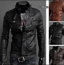 2016 new mens stand collar leather jackets autumn new men s leather jacket locomotive style men s slim