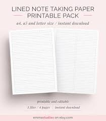 Lined Pages For Writing Interesting Lined Paper Student Note Taking Printable Set A48 A48 And Etsy