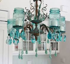 mason jar lighting fixture. Aqua Mason Jar Chandelier Shabbyfufu.com Lighting Fixture