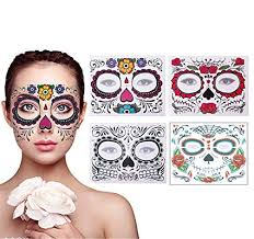 4 pack day of the dead sugar skull face temporary tattoo makeup tattoo stickers for