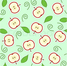 Apple Pattern Stunning Seamless Pattern With Red Apple Halves And Leaves Stock Vector