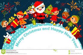 Christmas For Kids Christmas Children In Santa Helper Hat Little Xmas Kids Stock