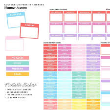 Weekly Homework Timetable Template College Planner Stickers School ...