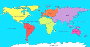 Map Of The World With Continents Montenegrocon Me