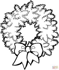 Small Picture Christmas Wreath with Bow coloring page Free Printable Coloring