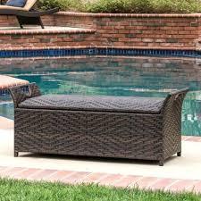 outdoor wicker storage bench outdoor wicker storage bench hinged lid water resistant finish wing outdoor wicker