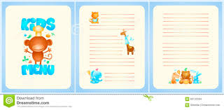 Kids Menu List Design With Front Page And Pages For Dishes