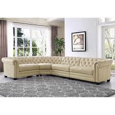Allington 4piece Top Grain Leather Sectional  Bone White Leather Couch Costco P17