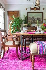 boho dining room love the pink overdyed rug kellyelko com