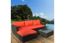 malibu 3pc outdoor sofa furniture set with chaise orange