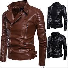 pu jacket for men winter lapel neck leather jacket men repair leather men s korean version ribbed pendulum pure leather jacket j1811179 5xl men winte