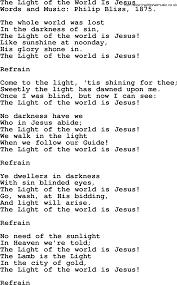 The Light Of The World Is Jesus Lyrics The Light Of The World Is Jesus By Philip Bliss Christian