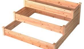 outdoor patio wooden 3 tier raised garden bed elevated planter box nature color
