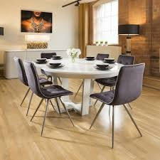 premium extending round dining set white glass top table 6 grey chairs