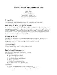 Interior Designer Resume Objective Architectural Designer Resume ...