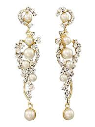 white pearl and rhinestone goldtone chandelier earrings white pearl and rhinestone goldtone chandelier earrings