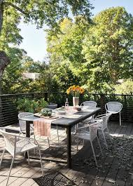black slatted outdoor table with white