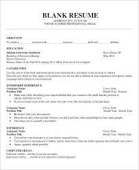 Resume Templates Printable Free Blank Resume Template Printable