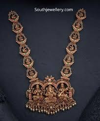 Gold New Model Necklace Design New Model Antique Gold Lakshmi Haram Indian Jewellery Designs