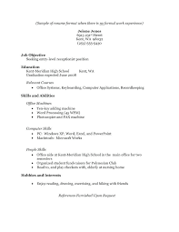Resume Samples For High School Students With Work Experience Resume