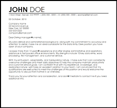 Clerical Position Cover Letter Free Data Entry Clerk Cover Letter Templates Cover Letter Now